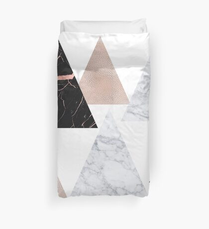 Rose gold marble geo triangles Duvet Cover