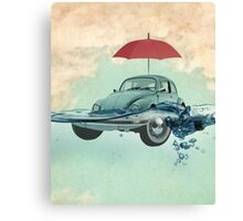 vw beetle, chance of rain, in deep water Canvas Print