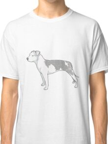 Staffordshire Terrier (grey and white) Classic T-Shirt