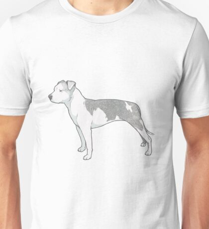 Staffordshire Terrier (grey and white) Unisex T-Shirt