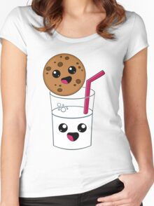 Kawaii Cookie and Milk Women's Fitted Scoop T-Shirt