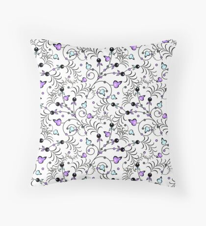 delicate abstract  floral pattern ,white background. Throw Pillow