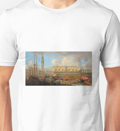 The Bucintoro Departing from the Bacino di San Marco - Luca Carlevarijs - 1710 Unisex T-Shirt