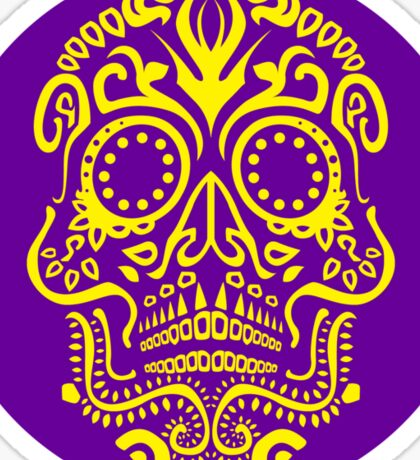 Day of the Dead Skull - Striking Yellow and Purple Sticker