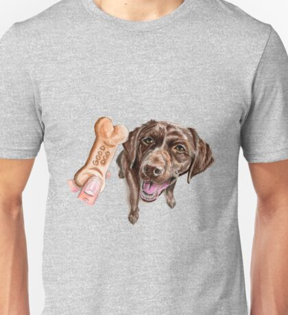 """GOOD DOG"" Chocolate Lab Watercolor Painting Unisex T-Shirt"