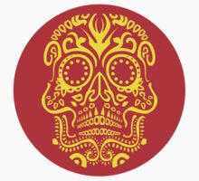 Day of the Dead Skull - Red and Yellow by Matthew Britton
