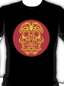 Day of the Dead Skull - Red and Yellow T-Shirt