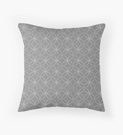 Abstract Frangipani Flower Pattern | Grey and White Throw Pillow