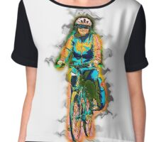 Digitally enhanced image Of a woman riding a bicycle model release available  Chiffon Top
