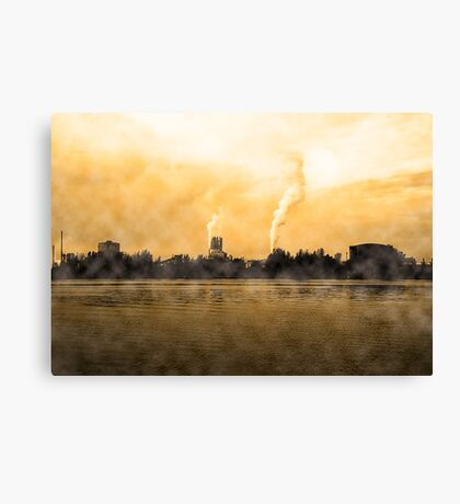 Industrial Zone in Linz Austria. The Danube river in the foreground Canvas Print