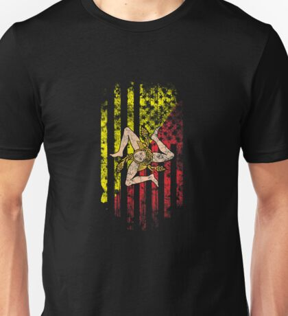 Sicily and America Flag Combo Distressed Design Unisex T-Shirt