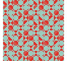 Circle Grid in Poppy Red and Jade Green Photographic Print