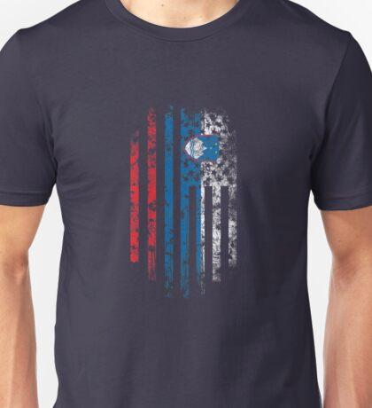 Slovenia and America Flag Combo Distressed Design Unisex T-Shirt