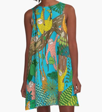 Happy Sloths Jungle  A-Line Dress