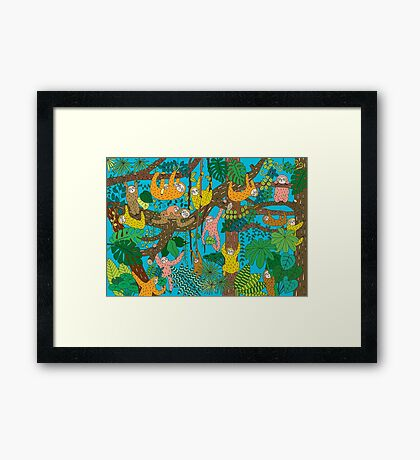 Happy Sloths Jungle  Framed Print