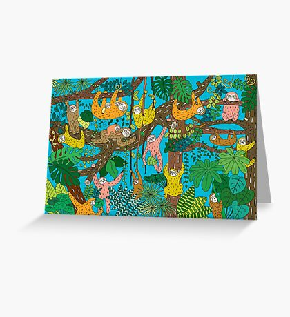 Happy Sloths Jungle  Greeting Card