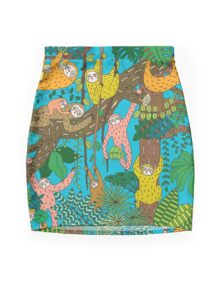 Happy Sloths Jungle  Mini Skirt