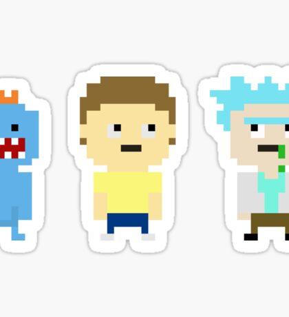 Rick and Morty and Mr. Meeseeks inspired pixelated trio Sticker