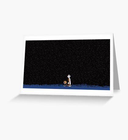 Calvin and Hobbes Stars Greeting Card