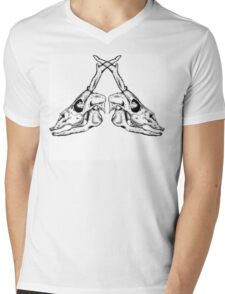 Double Deer Skull Mens V-Neck T-Shirt