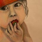 Baby with a strawberry  by Zina Stromberg
