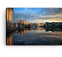5 Second Long Exposure of the Sunset over the Shore, Edinburgh Canvas Print