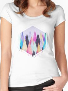 Colorful Abstract Geometric Triangle Peak Wood's Women's Fitted Scoop T-Shirt
