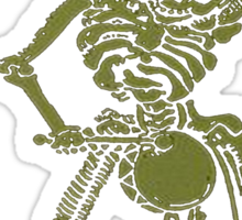 A Zombie Undead Skeleton Marching and Beating A Drum Sticker