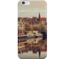 Vintage Effect Sunset over the Shore in Leith, Edinburgh iPhone Case/Skin