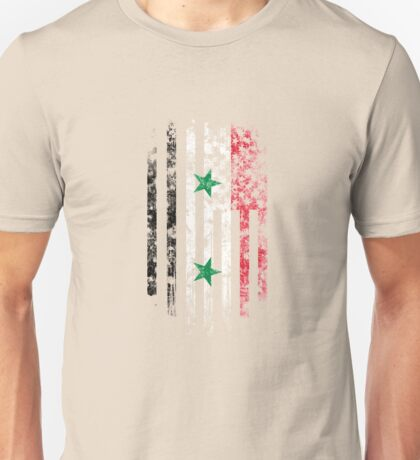 Syria and America Flag Combo Distressed Design Unisex T-Shirt
