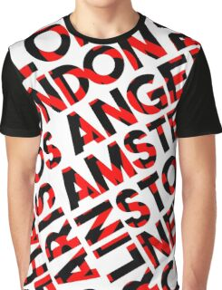 red, black City names typography Graphic T-Shirt