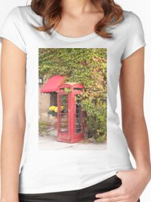An old style telephone booth Women's Fitted Scoop T-Shirt