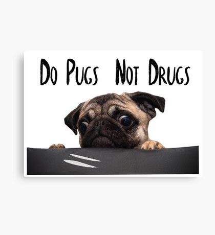 Stylized Pugs not Drugs Canvas Print