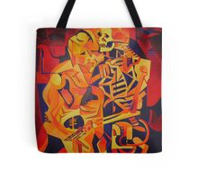 A Skeleton and A Corpse Embracing Death Tote Bag
