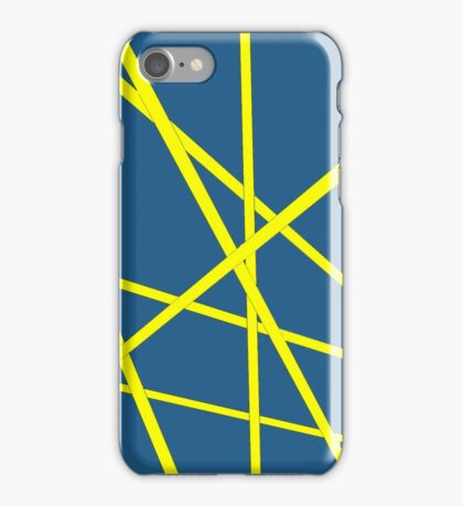 Yellow stripes with moody blue background design iPhone Case/Skin