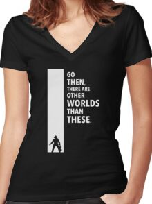 The Dark Tower Worlds white Women's Fitted V-Neck T-Shirt