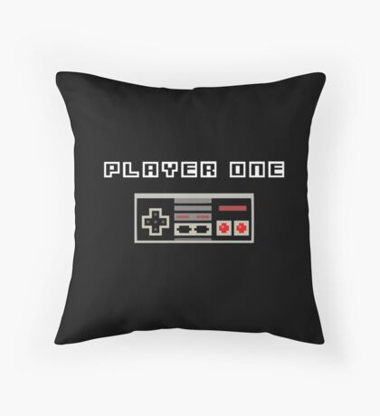 Player One | Best Friends | Retro Gaming Design Set Throw Pillow