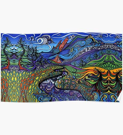 Psychedelic landscape Poster