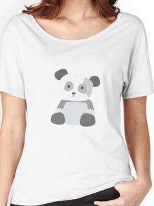Panda Vector - Large - Gray, White, Green Women's Relaxed Fit T-Shirt