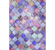 Royal Purple, Mauve & Indigo Decorative Moroccan Tile Pattern Photographic Print