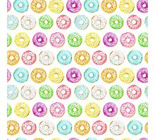 Watercolor donuts sprinkles Pattern Photographic Print