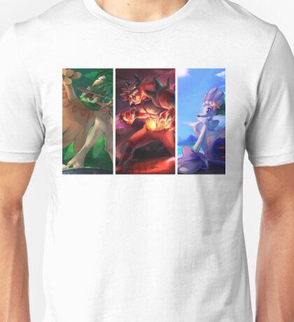 Alolan starters: Decidueye, Primarina, Incineroar Unisex T-Shirt