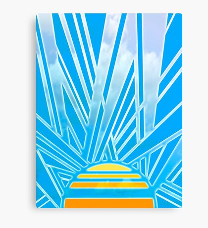 Art Deco Radiating Sun - Geometric Abstraction Digital Art Canvas Print