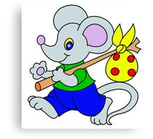 little mouse traveler with a swag Canvas Print