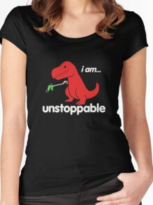 I Am Unstoppable Funny T-Rex Dinosaur Women's Fitted Scoop T-Shirt