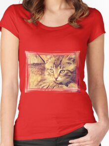 Retro Kitten Photo 2 Women's Fitted Scoop T-Shirt