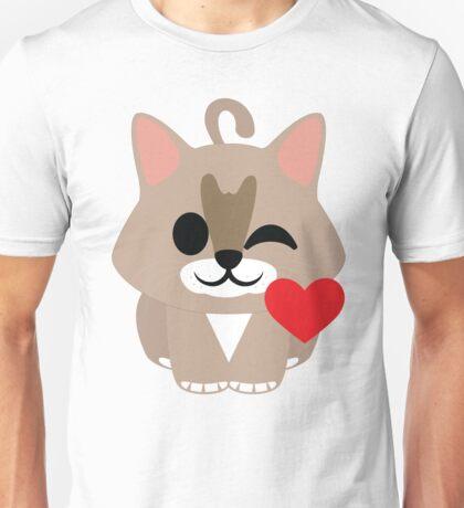 Maine Coon Cat Emoji Flirting and Blowing Kiss Unisex T-Shirt