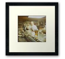 Glass of beer in Spanish tapas bar square Hasselblad medium format  c41 color film analogue photograph Framed Print