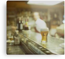 Glass of beer in Spanish tapas bar square Hasselblad medium format  c41 color film analogue photograph Metal Print