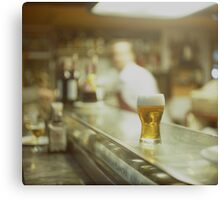Glass of beer in Spanish tapas bar square Hasselblad medium format  c41 color film analogue photograph Canvas Print